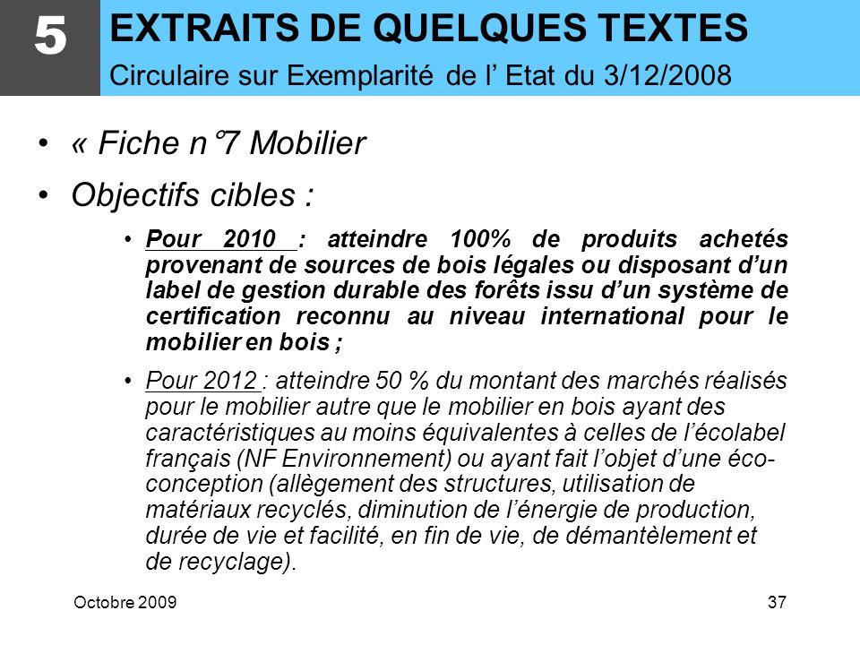 5 EXTRAITS DE QUELQUES TEXTES « Fiche n°7 Mobilier Objectifs cibles :