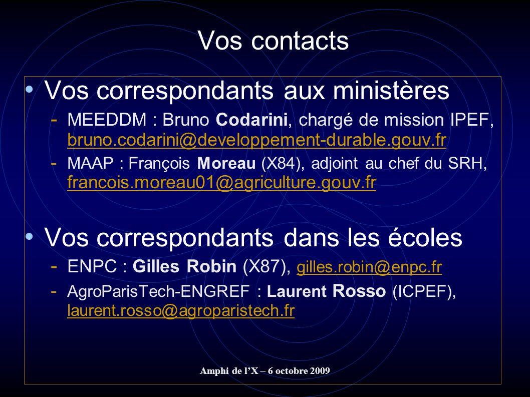 Vos contacts Vos correspondants aux ministères