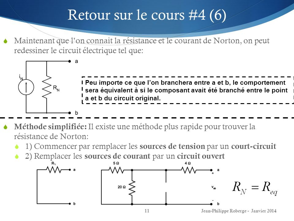 Retour sur le cours #4 (6) Maintenant que l'on connait la résistance et le courant de Norton, on peut redessiner le circuit électrique tel que: