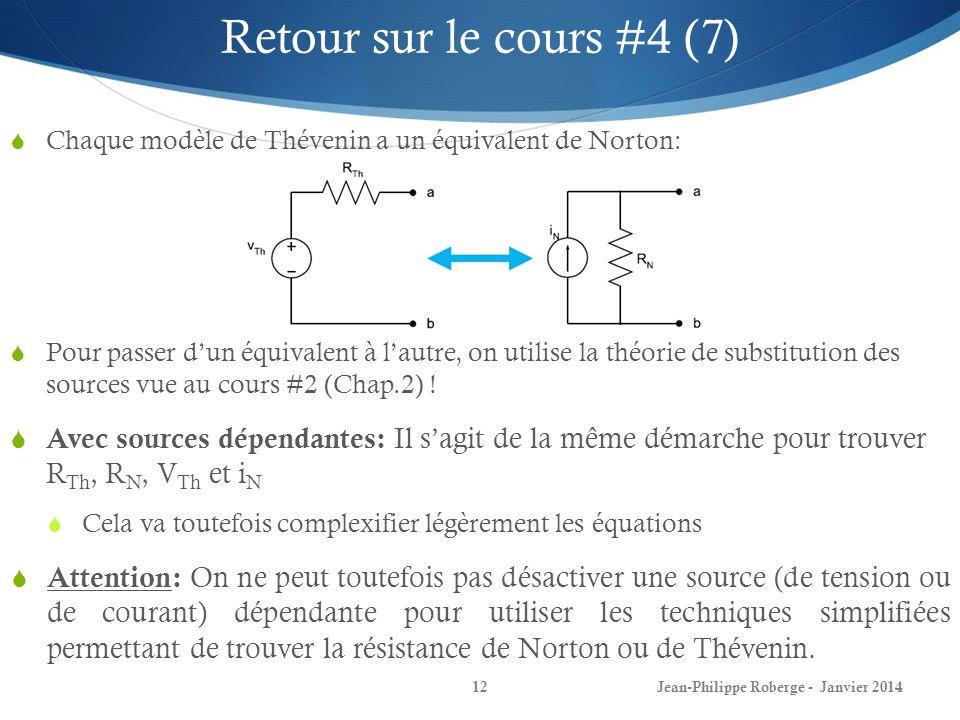 Retour sur le cours #4 (7) Chaque modèle de Thévenin a un équivalent de Norton: