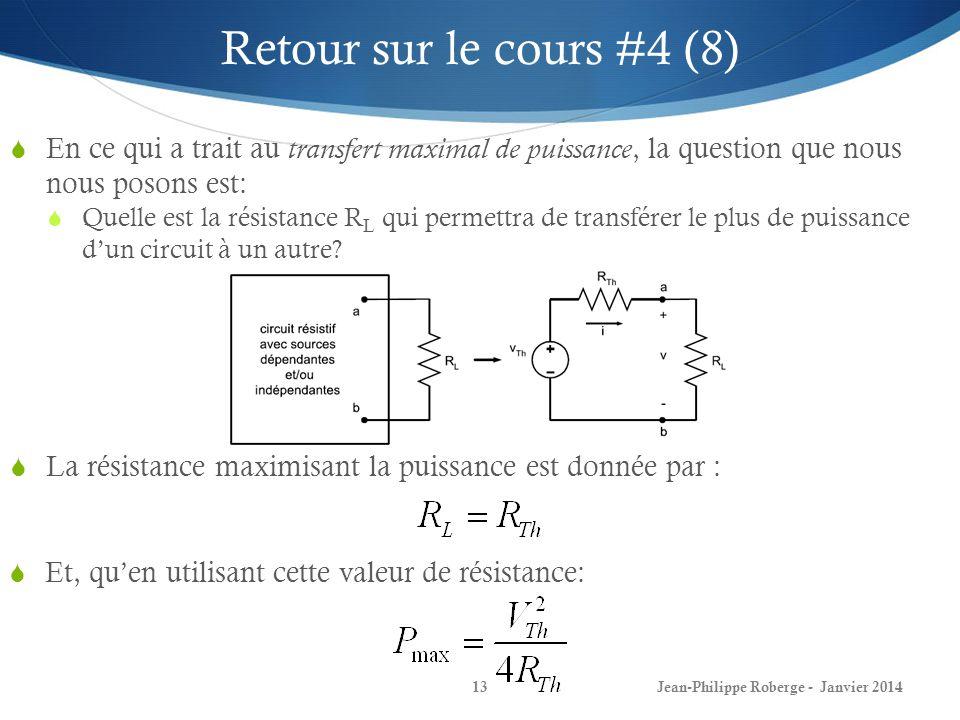 Retour sur le cours #4 (8) En ce qui a trait au transfert maximal de puissance, la question que nous nous posons est: