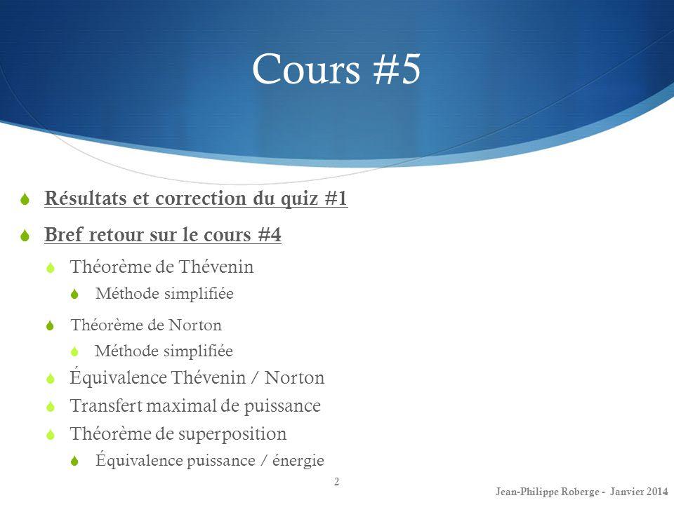 Cours #5 Résultats et correction du quiz #1