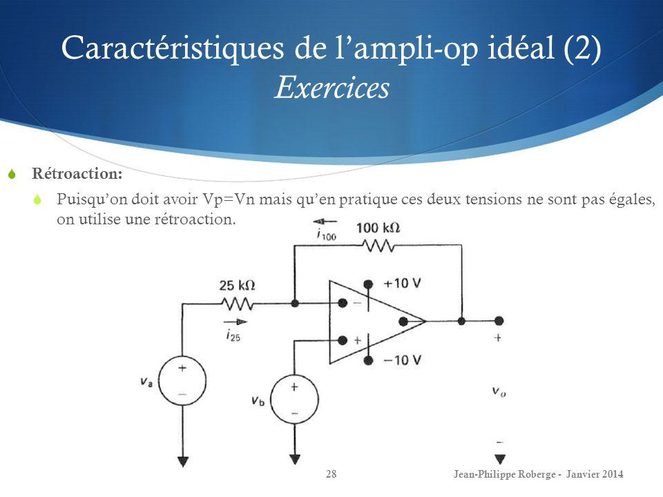Caractéristiques de l'ampli-op idéal (2) Exercices