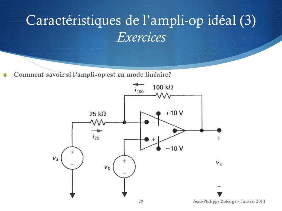 Caractéristiques de l'ampli-op idéal (3) Exercices