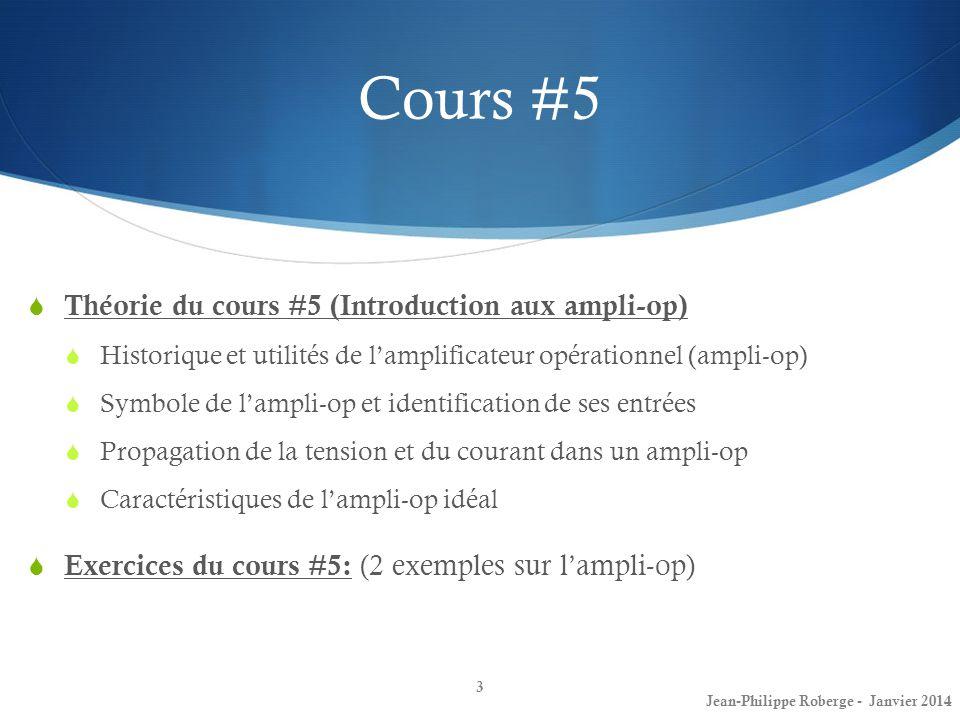 Cours #5 Théorie du cours #5 (Introduction aux ampli-op)