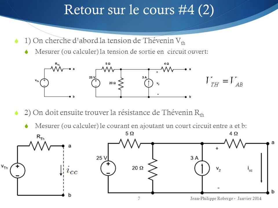 Retour sur le cours #4 (2) 1) On cherche d'abord la tension de Thévenin Vth. Mesurer (ou calculer) la tension de sortie en circuit ouvert: