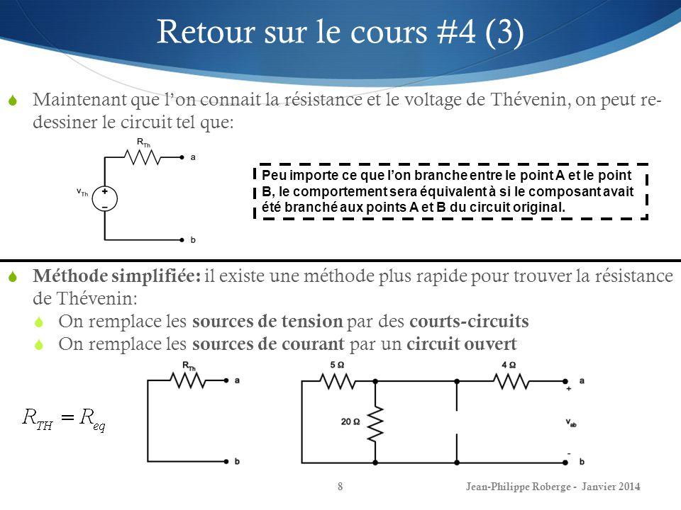 Retour sur le cours #4 (3) Maintenant que l'on connait la résistance et le voltage de Thévenin, on peut re- dessiner le circuit tel que: