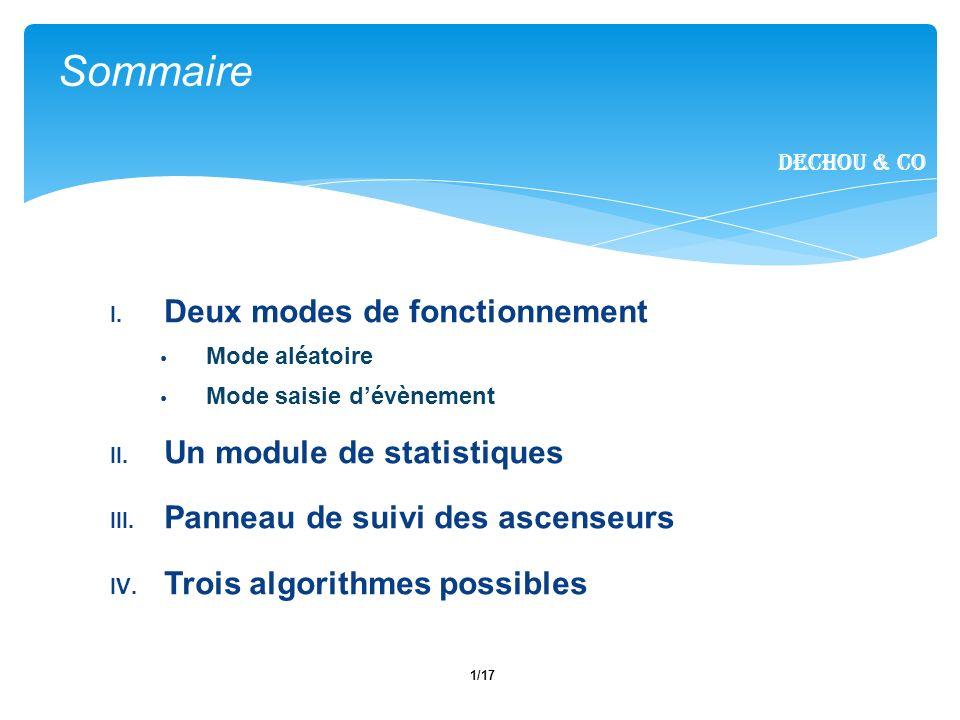 Sommaire Deux modes de fonctionnement Un module de statistiques