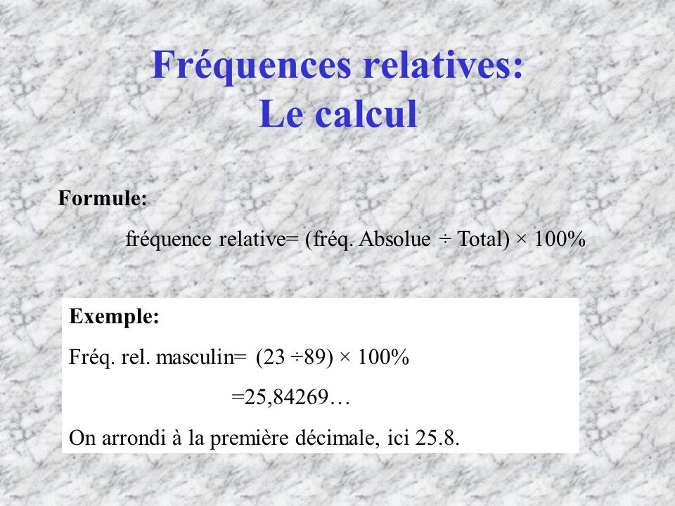 Fréquences relatives: Le calcul