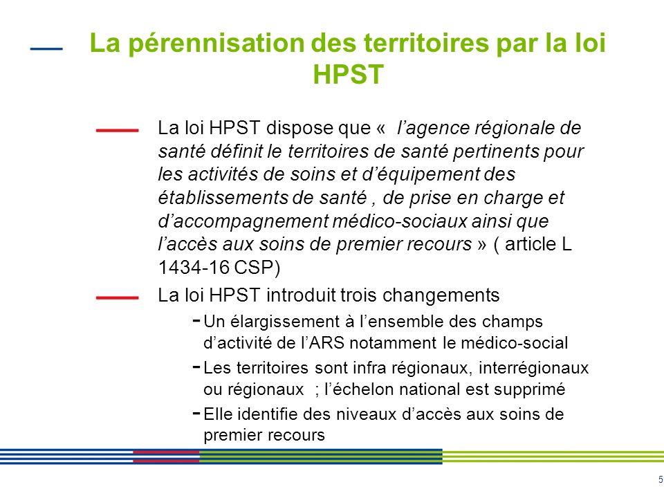 La pérennisation des territoires par la loi HPST