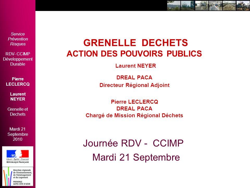 GRENELLE DECHETS ACTION DES POUVOIRS PUBLICS Laurent NEYER DREAL PACA Directeur Régional Adjoint Pierre LECLERCQ DREAL PACA Chargé de Mission Régional Déchets
