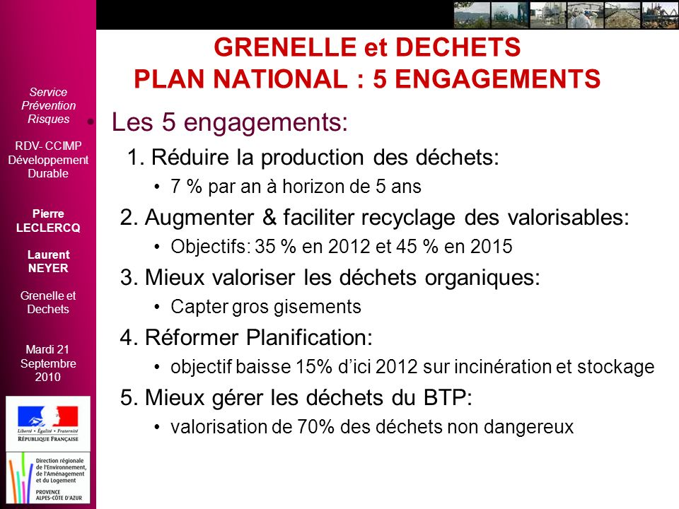 GRENELLE et DECHETS PLAN NATIONAL : 5 ENGAGEMENTS