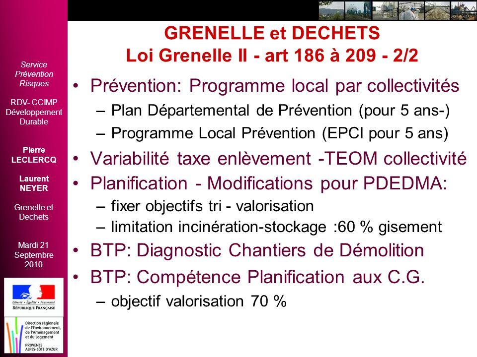 GRENELLE et DECHETS Loi Grenelle II - art 186 à 209 - 2/2