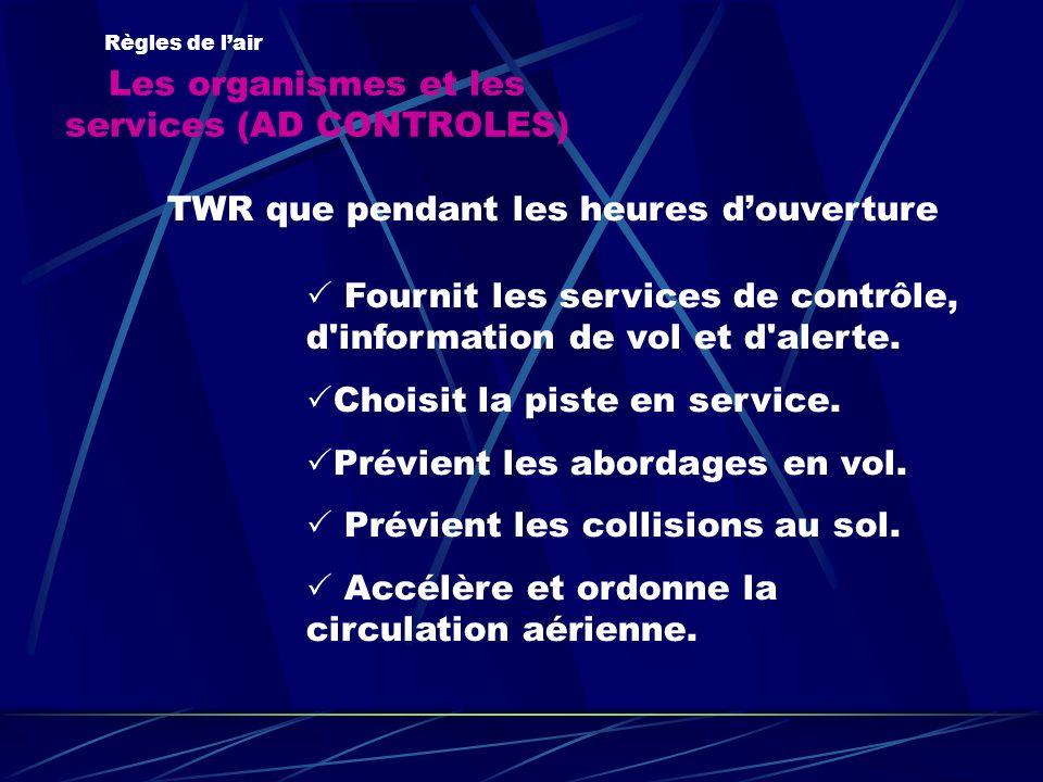 Les organismes et les services (AD CONTROLES)