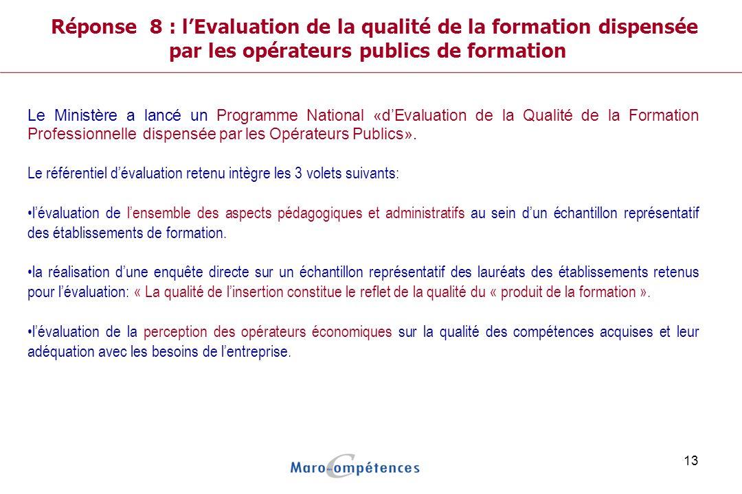 Réponse 8 : l'Evaluation de la qualité de la formation dispensée par les opérateurs publics de formation