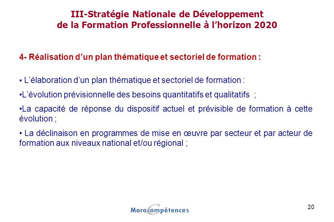 III-Stratégie Nationale de Développement de la Formation Professionnelle à l'horizon 2020