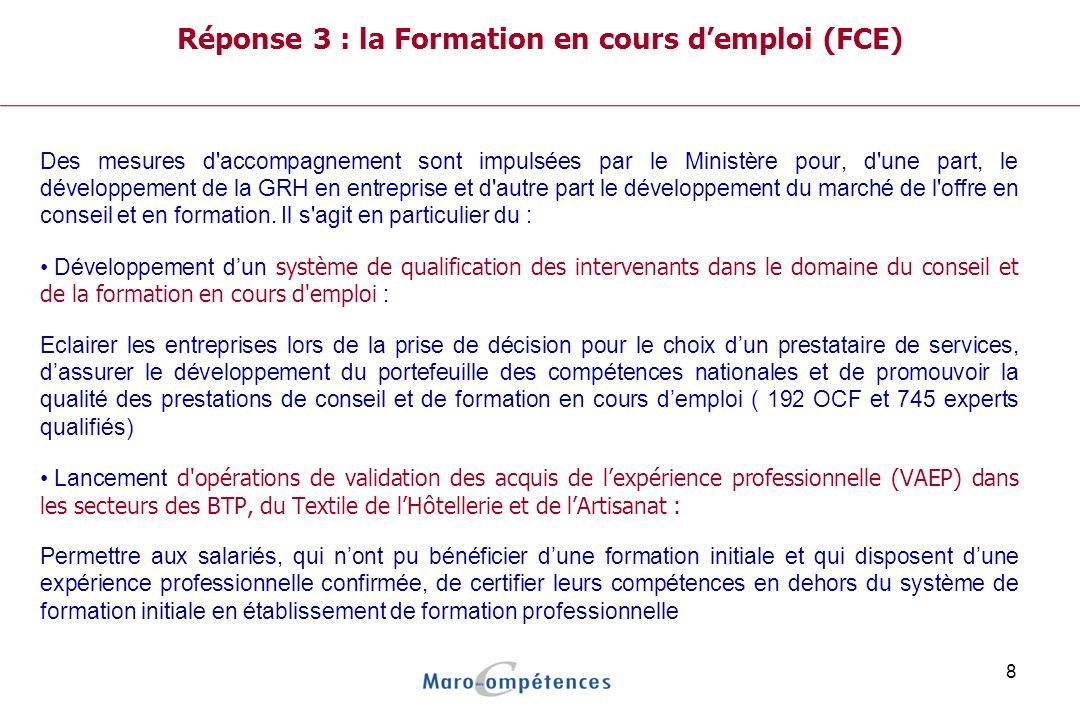Réponse 3 : la Formation en cours d'emploi (FCE)