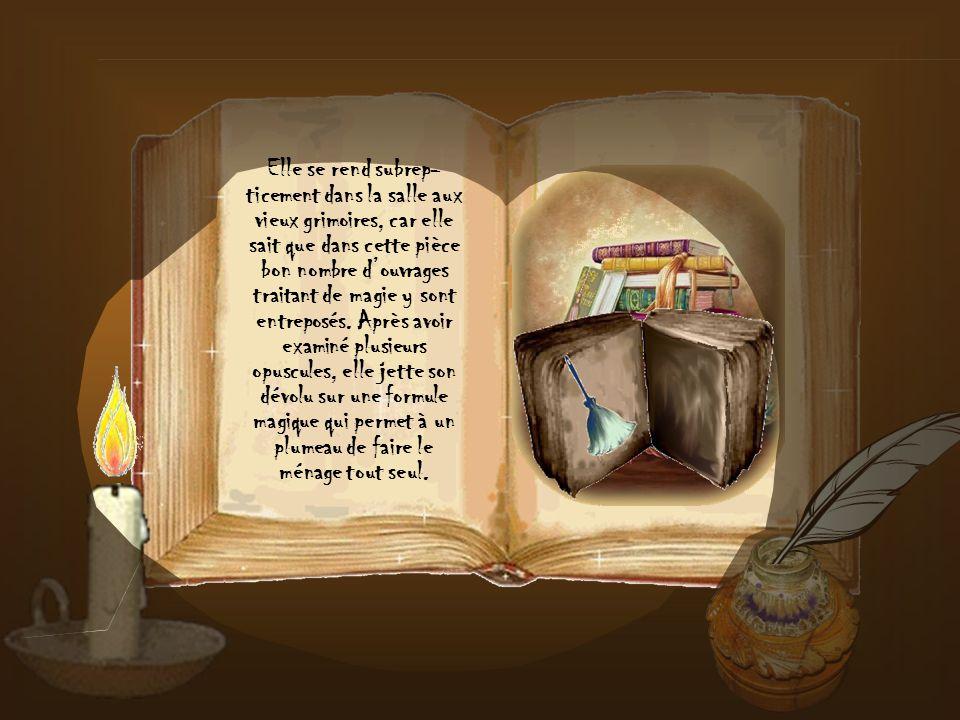 Elle se rend subrep-ticement dans la salle aux vieux grimoires, car elle sait que dans cette pièce bon nombre d'ouvrages traitant de magie y sont entreposés.