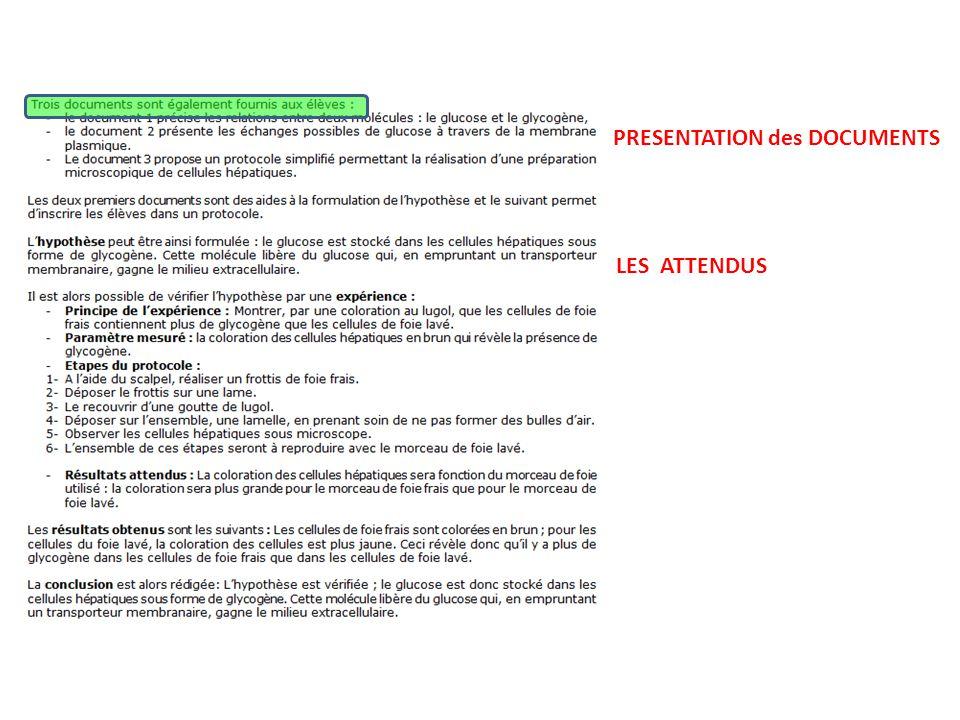 PRESENTATION des DOCUMENTS