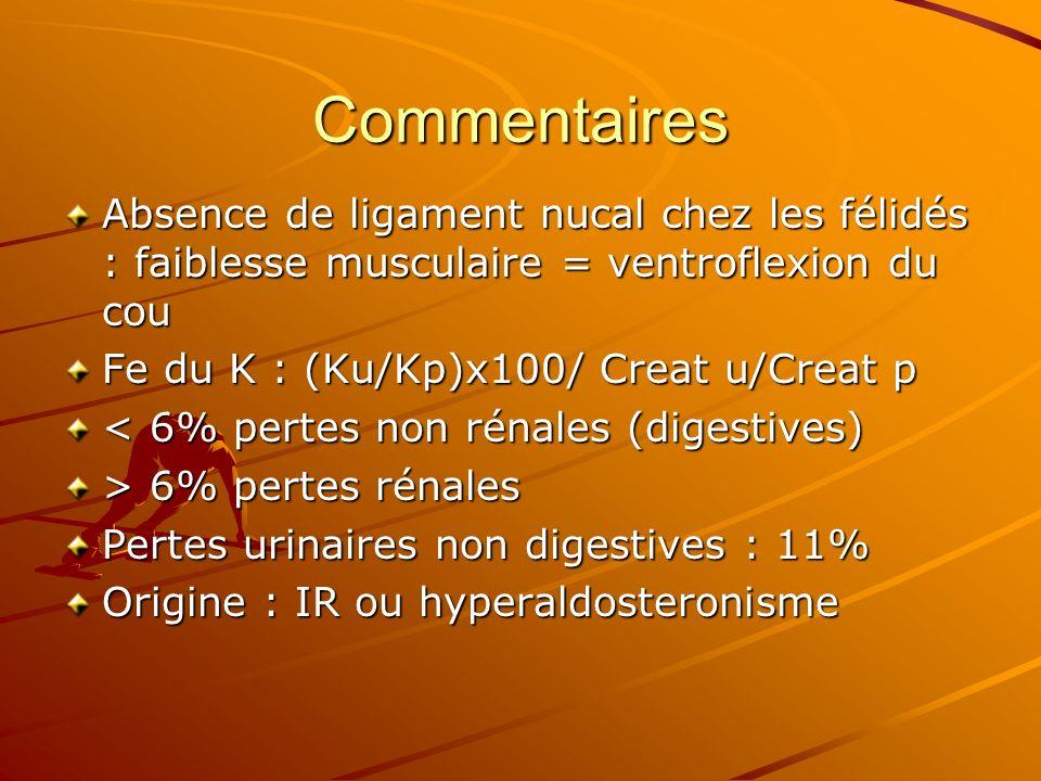 Commentaires Absence de ligament nucal chez les félidés : faiblesse musculaire = ventroflexion du cou.
