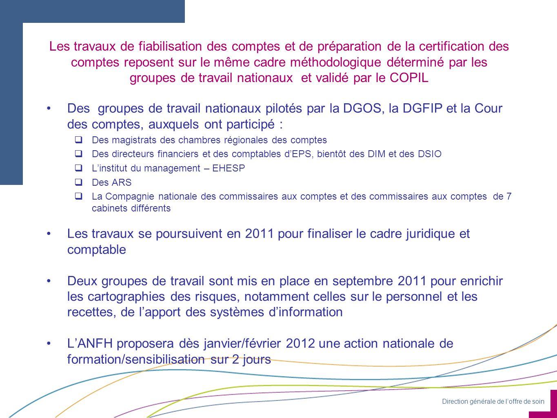 Les travaux de fiabilisation des comptes et de préparation de la certification des comptes reposent sur le même cadre méthodologique déterminé par les groupes de travail nationaux et validé par le COPIL