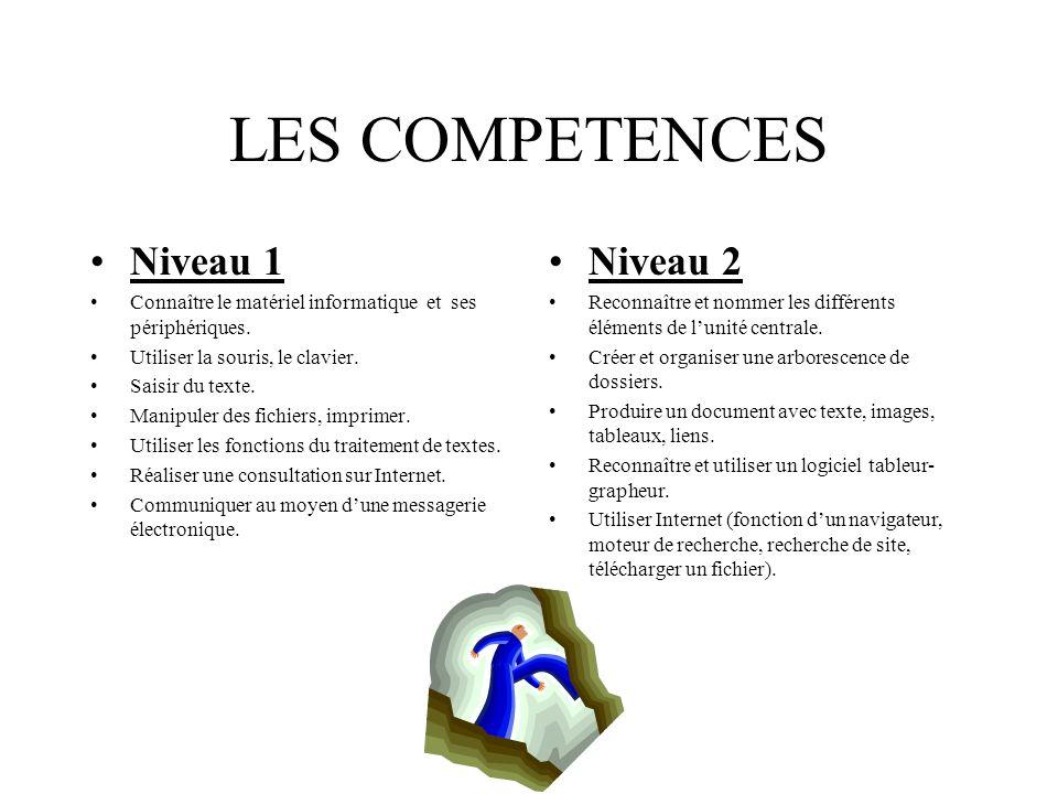 LES COMPETENCES Niveau 1 Niveau 2