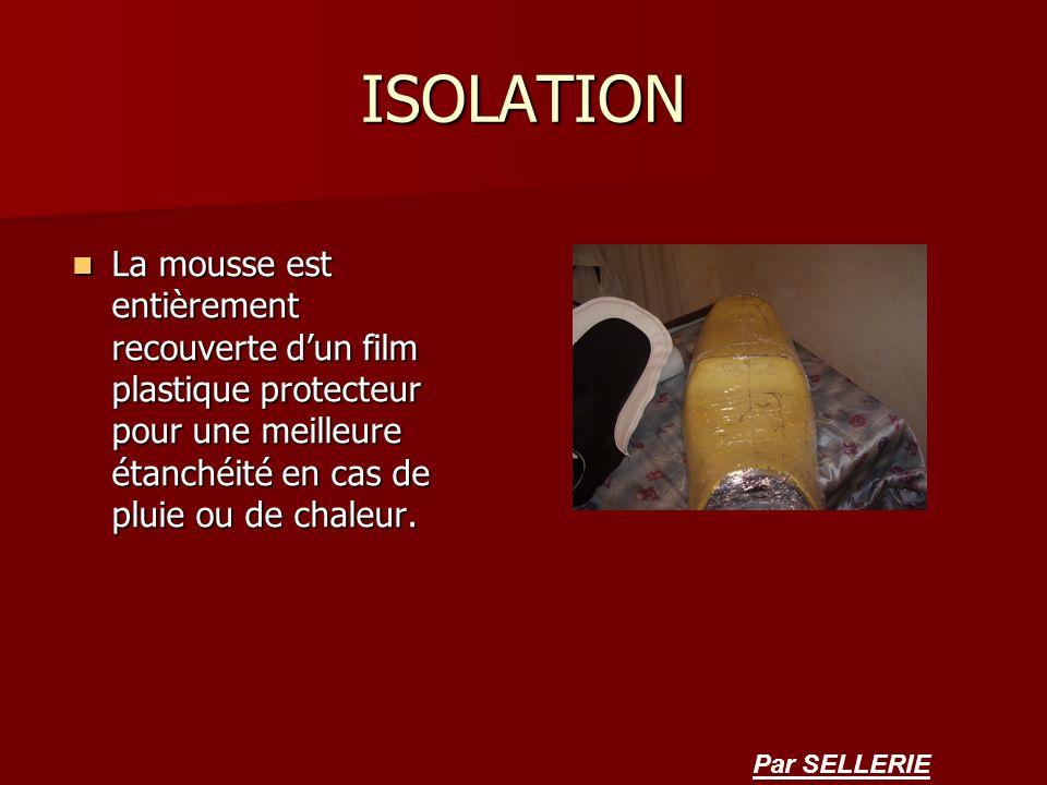 ISOLATION La mousse est entièrement recouverte d'un film plastique protecteur pour une meilleure étanchéité en cas de pluie ou de chaleur.