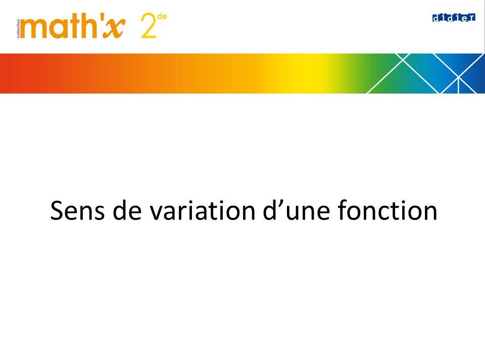 Sens de variation d'une fonction