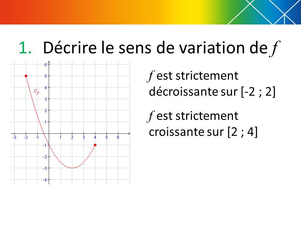 Décrire le sens de variation de f