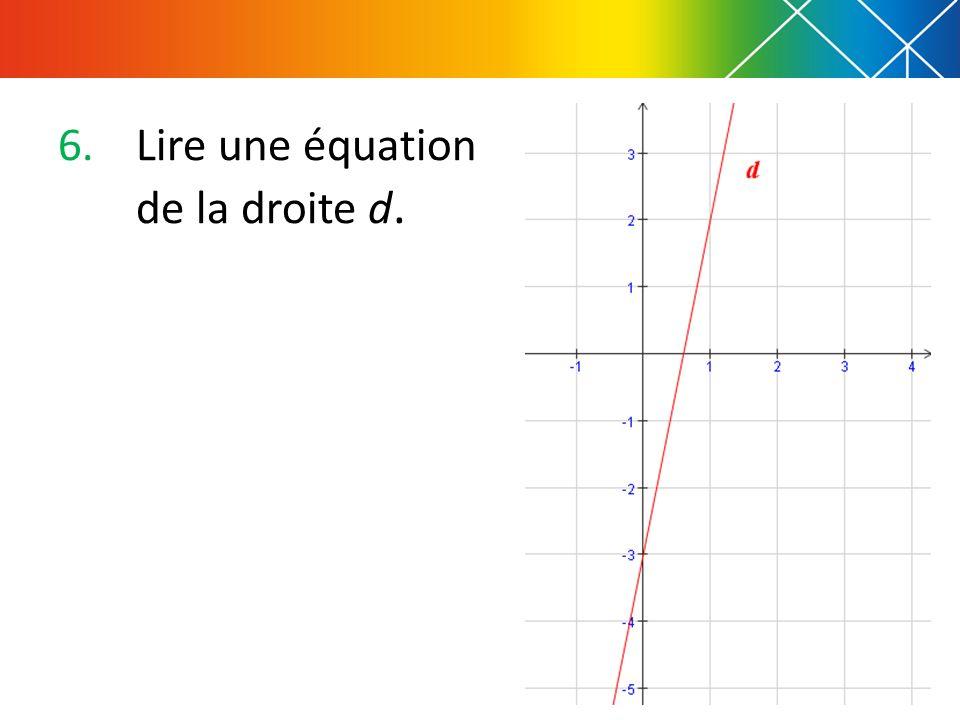 Lire une équation de la droite d.