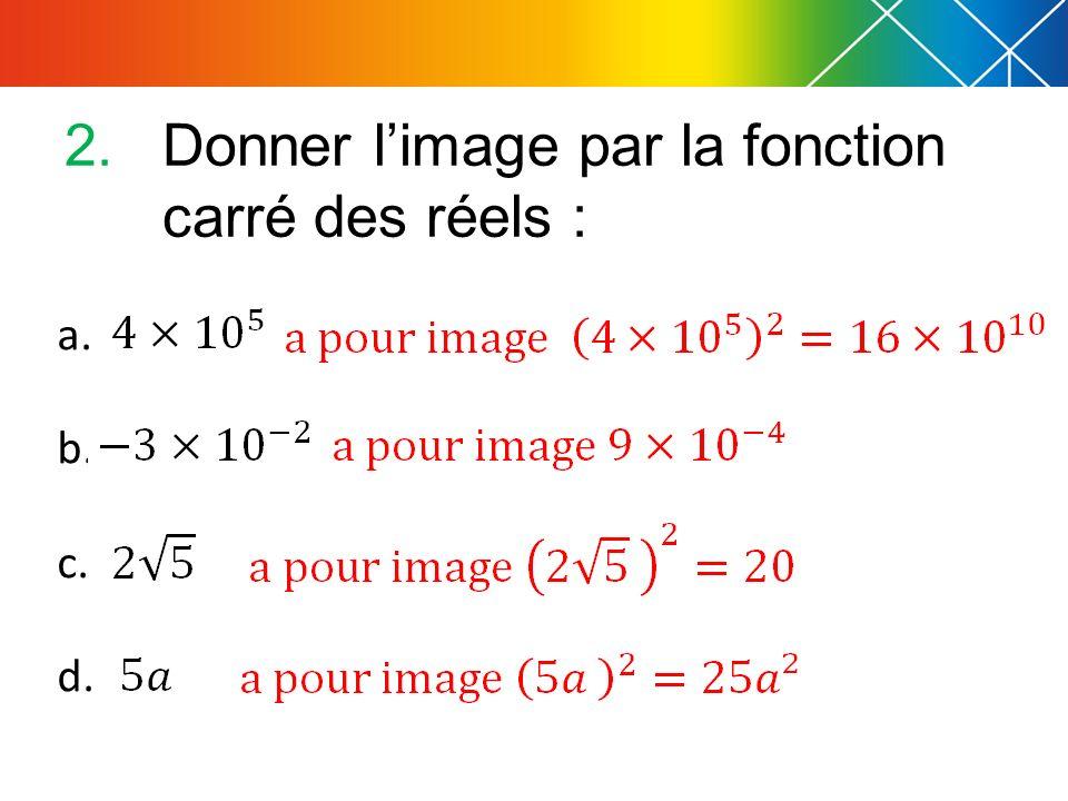Donner l'image par la fonction carré des réels :
