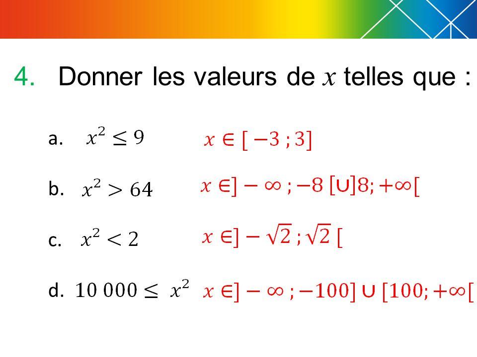 Donner les valeurs de x telles que :