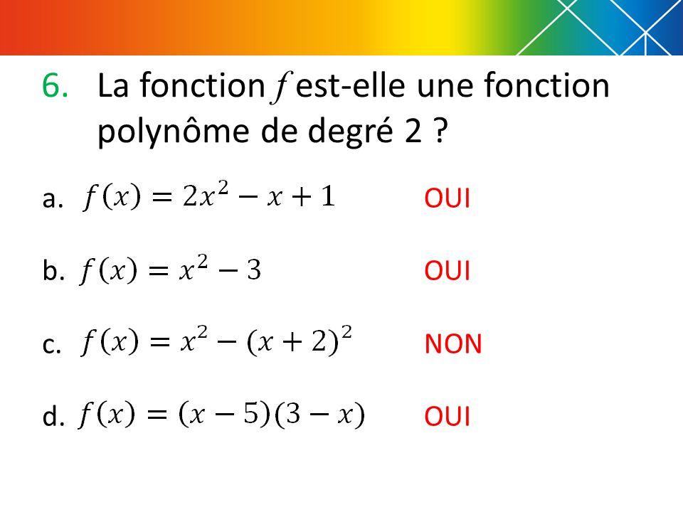 La fonction f est-elle une fonction polynôme de degré 2