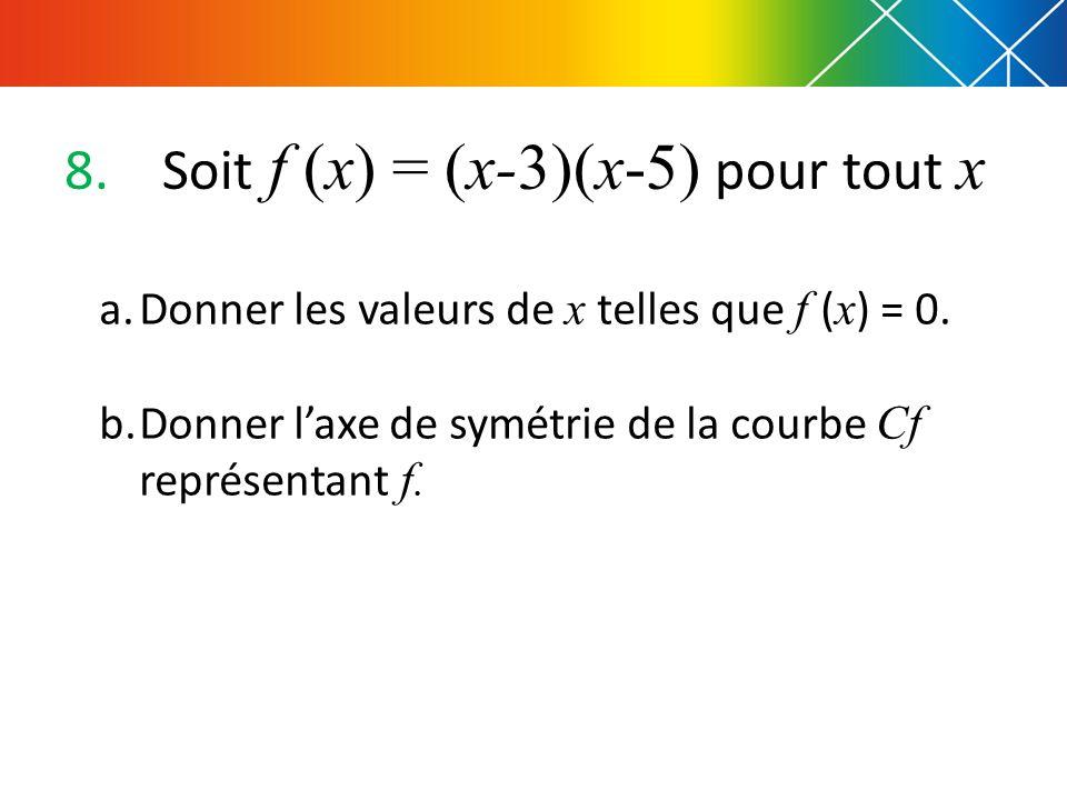 Soit f (x) = (x-3)(x-5) pour tout x