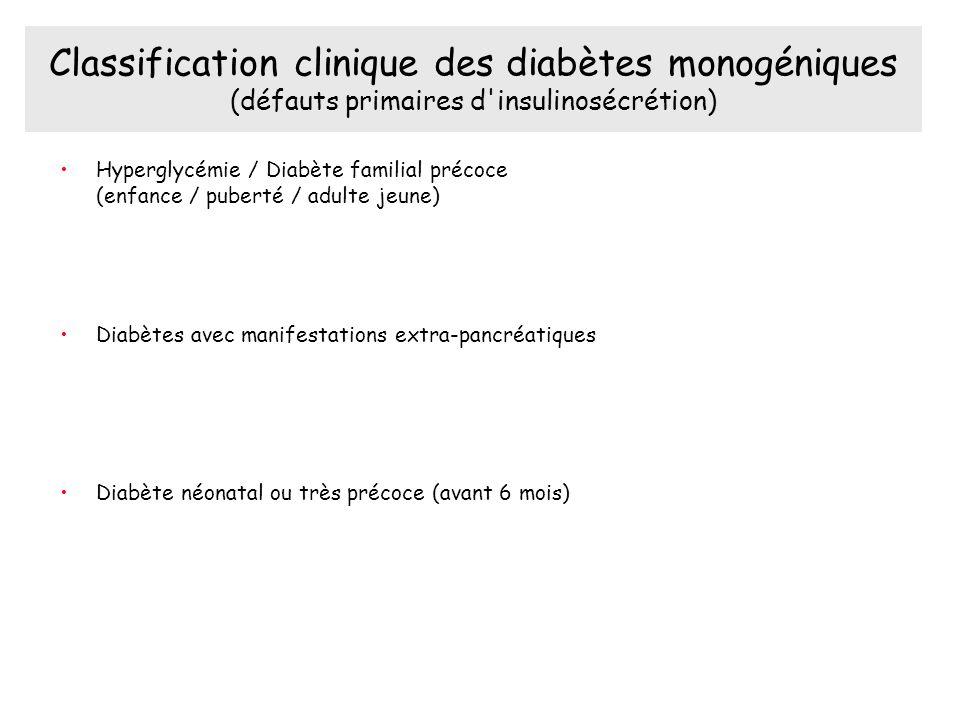 Classification clinique des diabètes monogéniques (défauts primaires d insulinosécrétion)