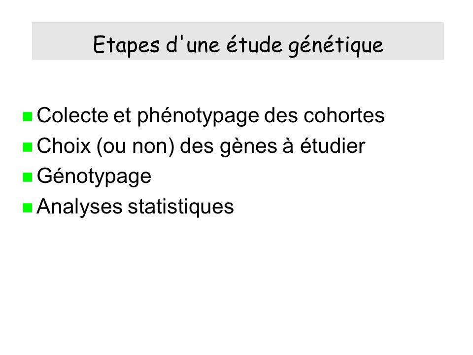 Etapes d une étude génétique