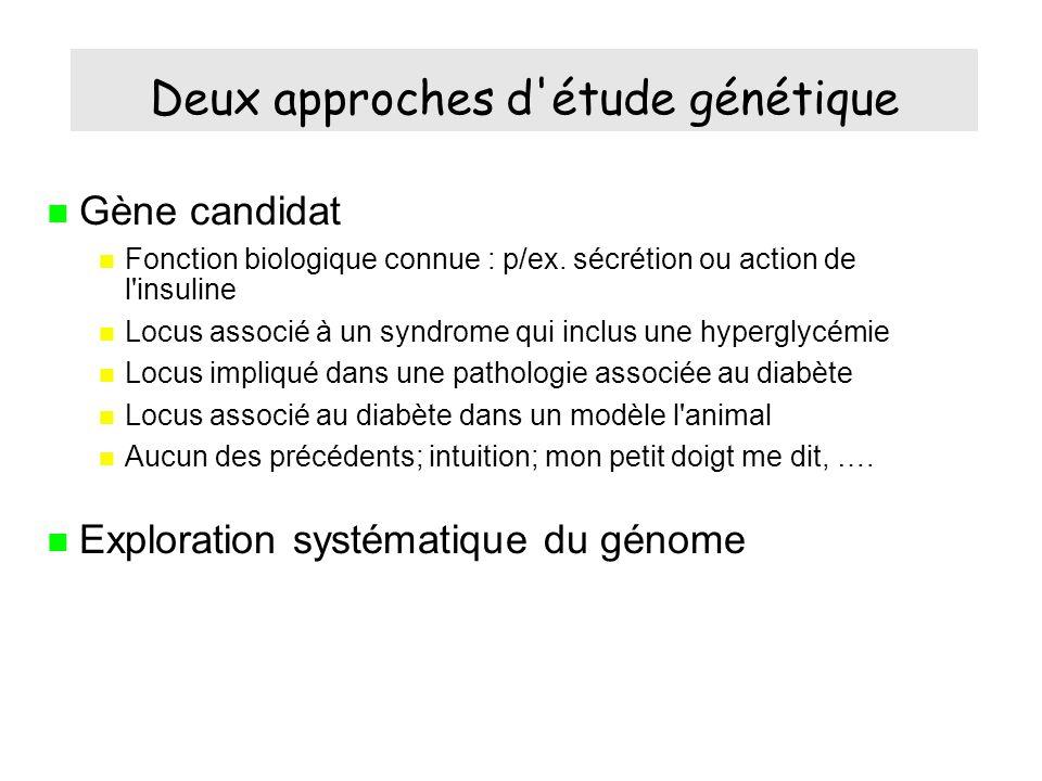 Deux approches d étude génétique