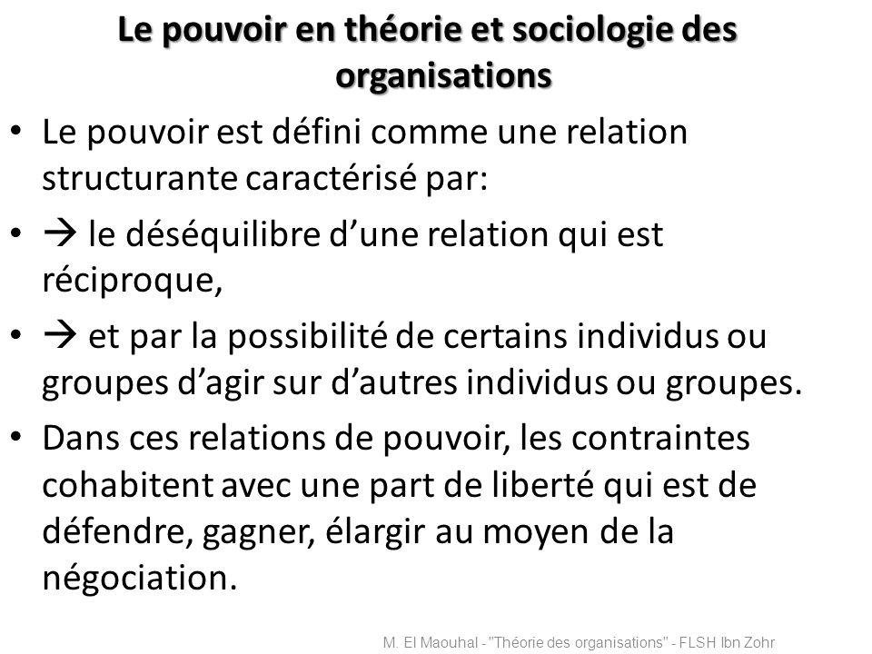Le pouvoir en théorie et sociologie des organisations