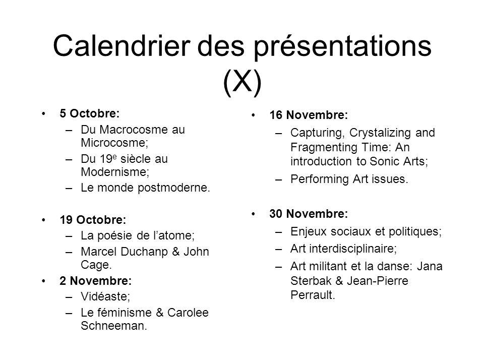 Calendrier des présentations (X)