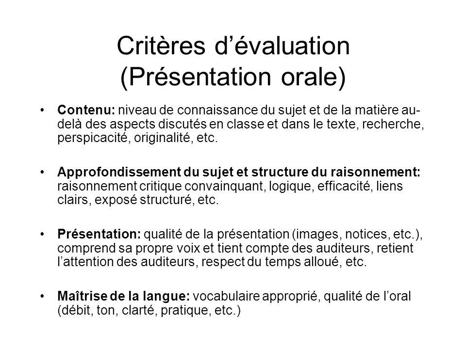 Critères d'évaluation (Présentation orale)