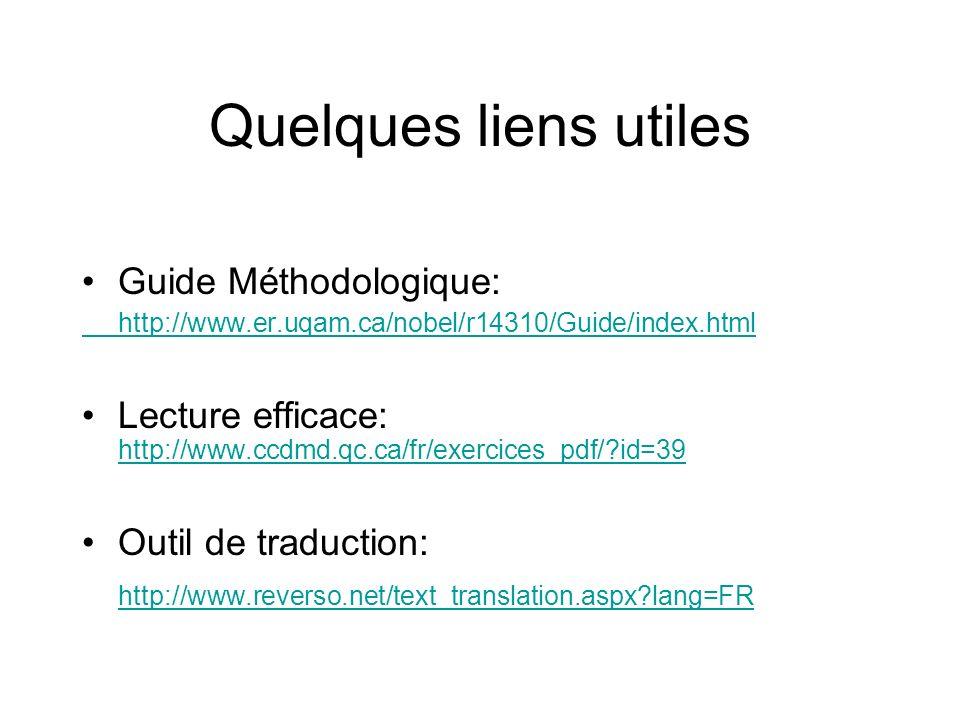 Quelques liens utiles Guide Méthodologique: