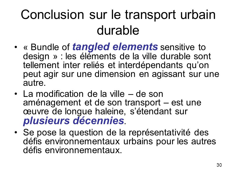 Conclusion sur le transport urbain durable