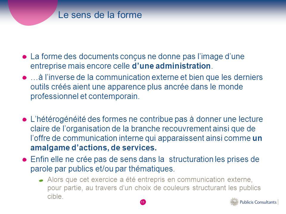 Le sens de la forme La forme des documents conçus ne donne pas l'image d'une entreprise mais encore celle d'une administration.