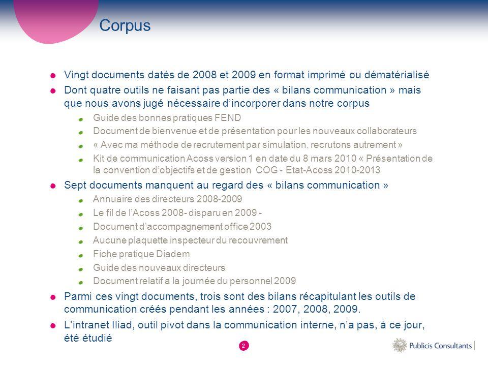 Corpus Vingt documents datés de 2008 et 2009 en format imprimé ou dématérialisé.