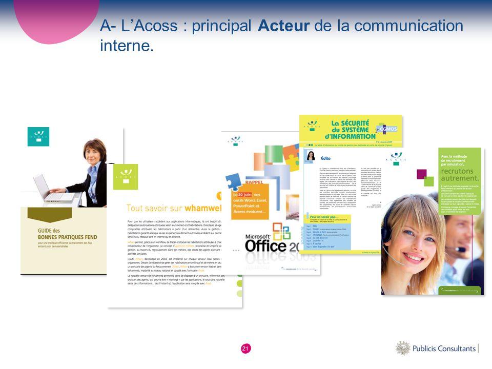 A- L'Acoss : principal Acteur de la communication interne.