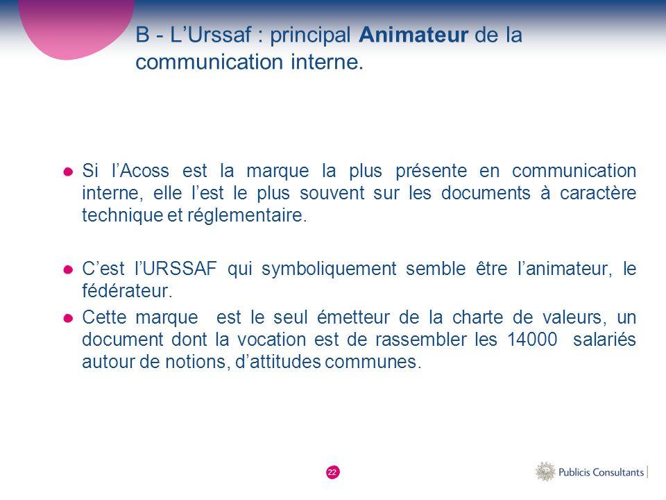 B - L'Urssaf : principal Animateur de la communication interne.