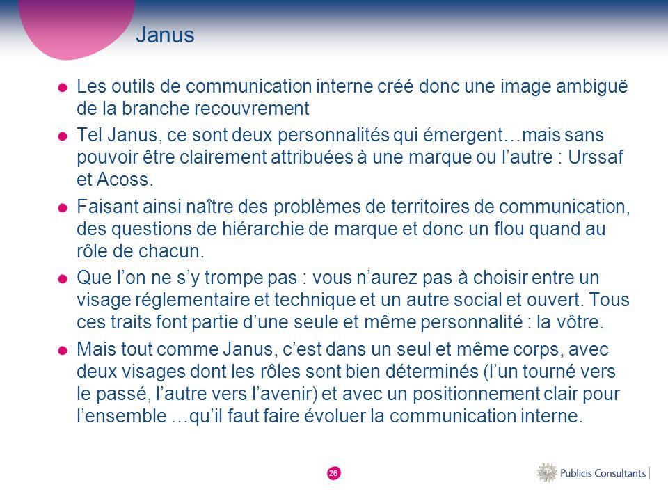 Janus Les outils de communication interne créé donc une image ambiguë de la branche recouvrement.