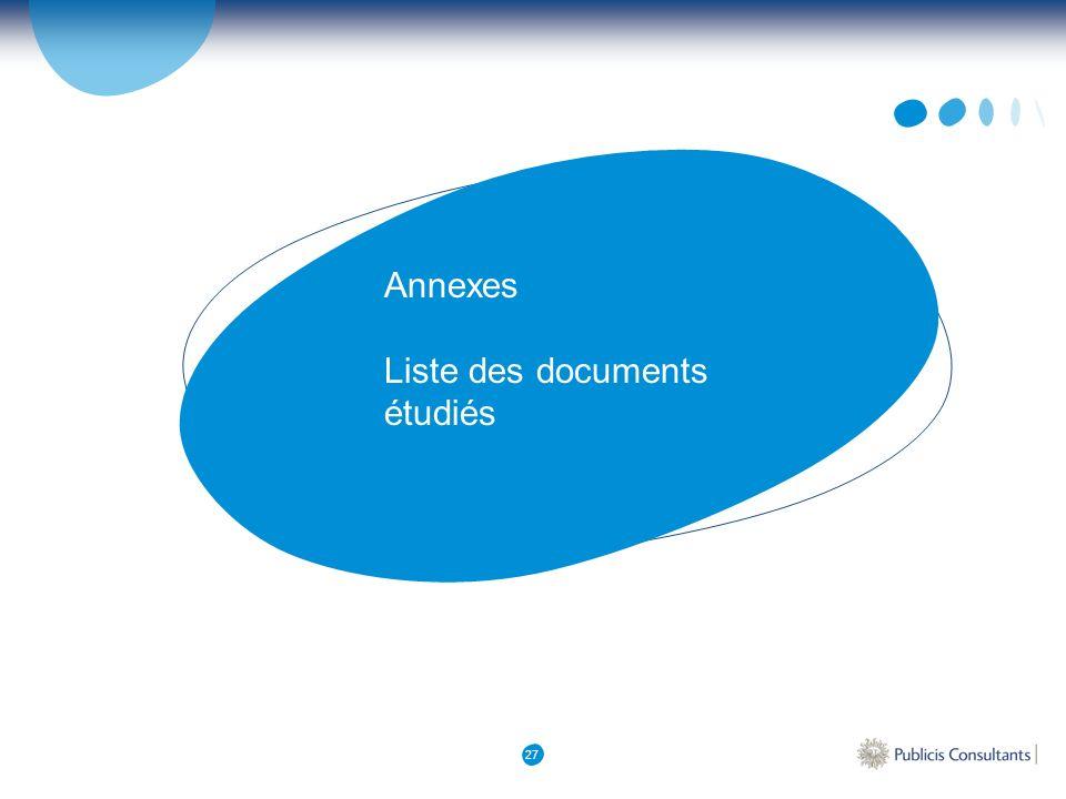 Annexes Liste des documents étudiés