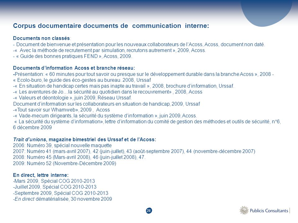 Corpus documentaire documents de communication interne: