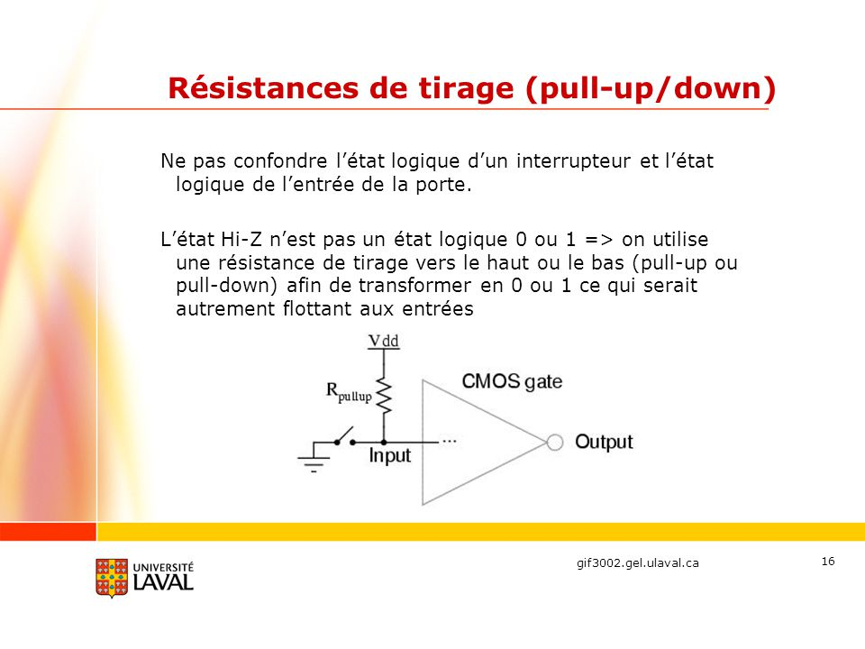 Résistances de tirage (pull-up/down)